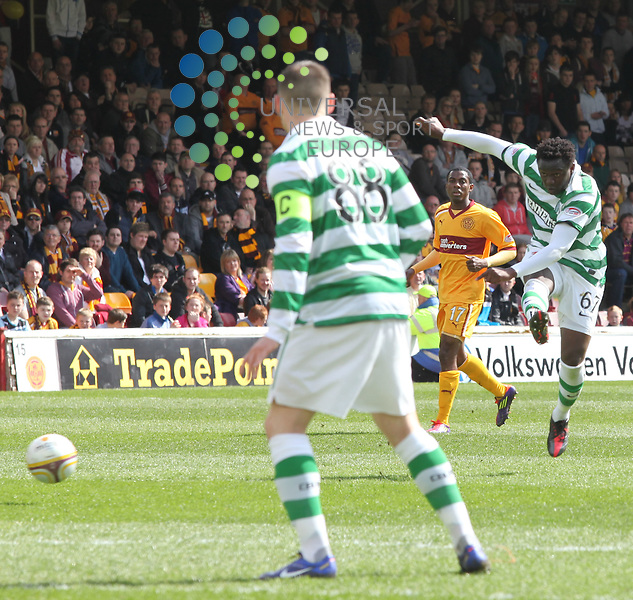 Celtic's Victor Wanyama goes close with a shot. Sunday 22nd April 2012, newly crowned SPL Champions Celtic, travel to Fir Park Motherwell to take on 3rd place Motherwell. Universal News And Sport (Europe) All pictures must be credited to www.unpixs.com. (Office)0844 884 51 22.