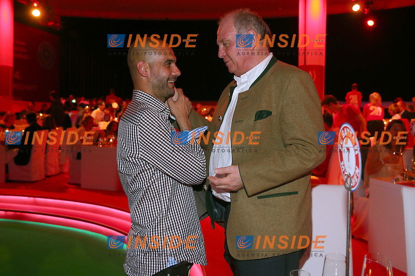 10.05.2014, Postpalast, Muenchen, GER, 1. FBL, FC Bayern Muenchen Meisterfeier, im Bild Josep Guardiola, head coach of Bayern Muenchen talks to Uli Hoeness (R), Uli Hoeness, Josep Guardiola, // during official Championsparty of Bayern Munich at the Postpalast in Muenchen, Germany on 2014/05/11. EXPA Pictures &copy; 2014, PhotoCredit: EXPA/ Eibner-Pressefoto/ EIBNER<br /> <br /> *****ATTENTION - OUT of GER***** <br /> Football Calcio 2013/2014<br /> Bundesliga 2013/2014 Bayern Campione Festeggiamenti <br /> Foto Expa / Insidefoto