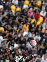 Calcio, Serie A: Juventus vs Sampdoria. Torino, Juventus Stadium, 14 maggio 2016. <br /> Juventus' Paul Pogba heads the ball during the Italian Serie A football match between Juventus and Sampdoria at Turin's Juventus Stadium, 14 May 2016.<br /> UPDATE IMAGES PRESS/Isabella Bonotto