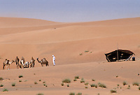 Camel herder and bedouin life in the desert at Al Ain in Abu Dhabi, United Arab Emirates