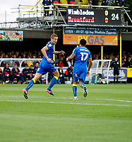 GOAL - AFC Wimbledon's Paul Robinson makes it 1-0 during the Carabao Cup match between AFC Wimbledon and Brentford at the Cherry Red Records Stadium, Kingston, England on 8 August 2017. Photo by Carlton Myrie.