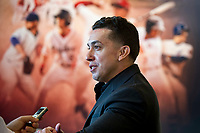 Iggy Suarez, introduced as 2018 manager of the Greenville Drive, is interviewed in front of a poster of past Drive stars during the annual Hot Stove Event to promote the upcoming baseball season on Monday, January 29, 2018, at Fluor Field at the West End in Greenville, South Carolina. (Tom Priddy/Four Seam Images)