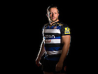 Max Lahiff poses for a portrait in the 2015/16 home kit during a Bath Rugby photocall on September 8, 2015 at Farleigh House in Bath, England. Photo by: Patrick Khachfe / Onside Images