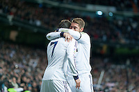Sergio Ramos congratulates Cristiano Ronaldo for his goal