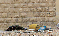 Photographer: Rick Findler..07.10.12 A member of the Free Syrian Army shot dead by a sniper from Assad's army lays in a street in the city of Aleppo. The city has become abandoned as fighting is forever increasing against President Assad's army.
