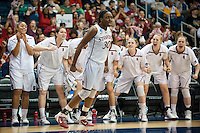 NORFOLK, VA--Nneka Ogwumike celebrates a point after during play against West Virginia University at the Ted Constant Convocation Center at Old Dominion University for the second round of the 2012 NCAA Championships. The Cardinal advanced to the West Regionals in Fresno with a score of 72-55.