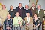 The 1962 Farranfore/Maine Valley athletes who won the Quill cup who were honored for their acheivements at the club's annual social in Milltown on Friday night front row l-r: Michael Walsh Farranfore, Frank O'Connor Currow, Tom Walsh Tralee, Sheila McSweeney-Curtin representing her late father Denis McSweeney. Back row: Matt Horgan Farranfore, John Joe Daly Farranfore, John O'Shea Firies representing his brother Jim, Willie Costello Fossa, Jerome Crowley Farranfore and Mike Foley Killorglin......