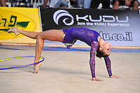 Tetyana Zahorodnya of Ukraine performs with hoop at 2010 Holon Grand Prix at Holon, Israel on September 3, 2010.  (Photo by Tom Theobald).