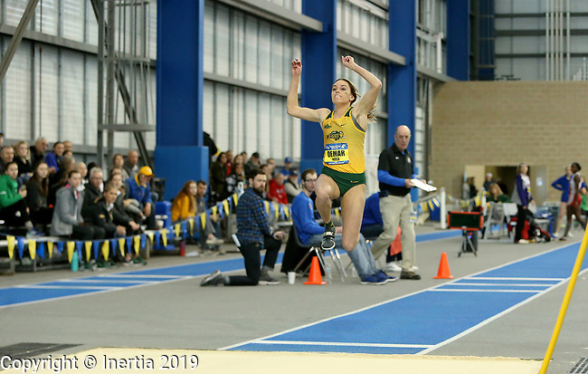BROOKINGS, SD - FEBRUARY 23: Baily DeMar from North Dakota State University wins the triple jump during the Summit league Indoor Track and Field Championships Saturday afternoon in Brookings, SD. (Photo by Dave Eggen/Inertia)