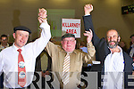 POLL-TOPPERS:Jackie Healy-Rae celebrates 'nothing short of a miracle' as his two sons Danny and Michael tops the poll at the Kerry County Council Killarney and Killorglin area election counts in the Aura Sports Centre in Killarney on Saturday