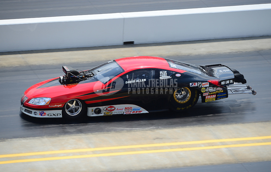 Apr. 15, 2012; Concord, NC, USA: NHRA competition eliminator driver David Allen during the Four Wide Nationals at zMax Dragway. Mandatory Credit: Mark J. Rebilas-