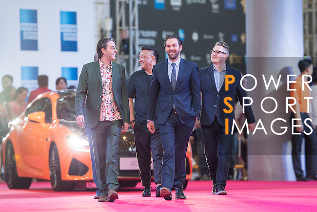 Markus Manninen, Jonah Greenberg, and Daniel Manwaring walk the Red Carpet event at the World Celebrity Pro-Am 2016 Mission Hills China Golf Tournament on 20 October 2016, in Haikou, China. Photo by Victor Fraile / Power Sport Images