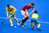 2nd February 2020; Sydney Olympic Park, Sydney, New South Wales, Australia; International FIH Field Hockey, Australia versus Great Britain; Harry Martin of Great Britain surrounded by Lachlan Sharp and Jake Whetton of Australia