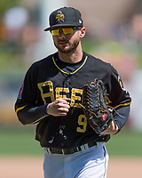 Shane Robinson (9) of the Salt Lake Bees during the game against the Fresno Grizzlies in Pacific Coast League action at Smith's Ballpark on April 16, 2017 in Salt Lake City, Utah. Salt Lake defeated Fresno 5-4. (Stephen Smith/Four Seam Images)
