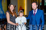 At Holy Family's NS First Holy Communion at St Brendans Church on Saturday.<br /> L to r: Emily Egan Smith with her parents Sharon Egan and Michael Smith.