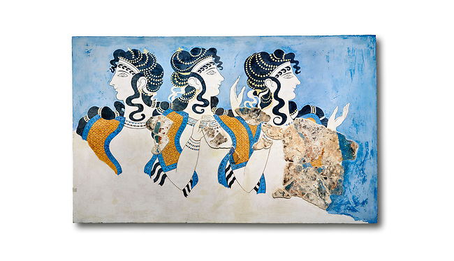 Minoan wall art fresco of 'Ladies in Blue' from Knossos Palace 1600-1450 BC. Heraklion Archaeological Museum.  White Background. <br /> <br /> The 'Ladies in Blue' Minoan fresco depicts richy dressed female figures with opulent jewelery and clothing with flamboyant hairstyles refecting the wealth of the Palace of Knossos
