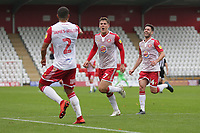 Charlie Carter of Stevenage scores the second goal for his team and celebrates during Stevenage vs Grimsby Town, Sky Bet EFL League 2 Football at the Lamex Stadium on 12th October 2019