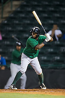 John Mora (4) of the Savannah Sand Gnats at bat against the Hickory Crawdads at L.P. Frans Stadium on June 15, 2015 in Hickory, North Carolina.  The Crawdads defeated the Sand Gnats 4-1.  (Brian Westerholt/Four Seam Images)