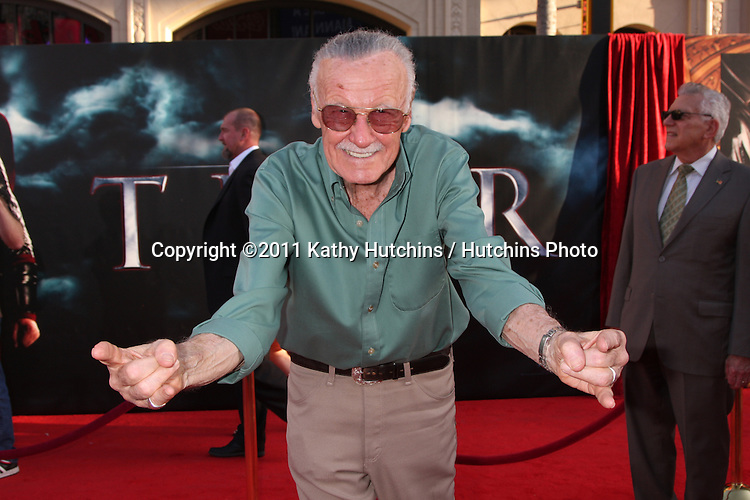 "LOS ANGELES - MAY 2:  Stan Lee arriving at the ""Thor"" World Premiere at El Capitan theater on May 2, 2011 in Los Angeles, CA"
