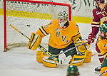 19 February 2016: University of Vermont Catamount Goaltender Packy Munson, a Freshman from Hugo, MN, makes a second period deflection save against the Boston College Eagles at Gutterson Fieldhouse in Burlington, Vermont. The Eagles defeated the Catamounts 3-1 in the first game of their weekend series. Mandatory Credit: Ed Wolfstein Photo *** RAW (NEF) Image File Available ***