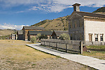 The Masonic Lodge and School House, built in 1874, leads the viewer to the other homes and store fronts east of town in the historic ghost town in Bannack State Park near Dillon MT