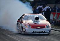 Jun. 29, 2012; Joliet, IL, USA: NHRA pro stock driver Kevin Lawrence during qualifying for the Route 66 Nationals at Route 66 Raceway. Mandatory Credit: Mark J. Rebilas-
