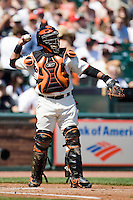 13 April 2008: #1 Bengie Molina of the Giants throws the ball during the San Francisco Giants 7-4 victory over the St. Louis Cardinals at the AT&T Park in San Francisco, CA.