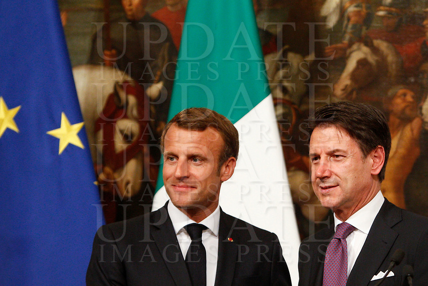 French President Emmanuel Macron, left, and Italian President Giuseppe Conte greet each other at the end of their meeting at Chigi Palace government office in Rome, September 18, 2019.<br /> UPDATE IMAGES PRESS/Riccardo De Luca