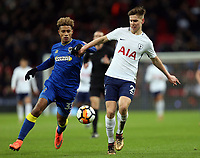 Juan Foyth of Tottenham and Lyle Taylor of AFC Wimbledon during Tottenham Hotspur vs AFC Wimbledon, Emirates FA Cup Football at Wembley Stadium on 7th January 2018