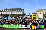 Eager fans wait in Compiegne before the start of the 116th edition of Paris-Roubaix 2018. 8th April 2018.<br /> Picture: ASO/Pauline Ballet | Cyclefile<br /> <br /> <br /> All photos usage must carry mandatory copyright credit (&copy; Cyclefile | ASO/Pauline Ballet)
