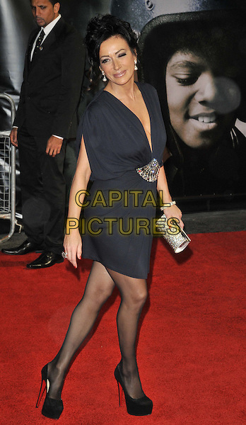 "Nancy Dell'Olio.The ""Michael Jackson : The Life Of An Icon"" UK premiere, Empire cinema, Leicester Square, London, England..2nd November 2011.full length black blue dress shoes beads beaded side silver clutch bag.CAP/CAN.©Can Nguyen/Capital Pictures."