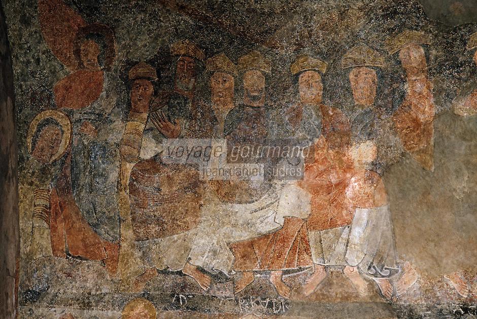 Europe/France/Midi-Pyrénées/09/Ariège/Couserans/Montgauch: Eglise - Fresques romanes XIIème - Les élus dans le sein d'Abraham - Détail du Jugement Dernier