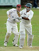 Scottish National Cricket League - Prem Div - McCrea FS West CC V Clydesdale CC, at Hamilton Crescent, Glasgow - 'Dale Pro Kamran Sajid keeps his eye on the ball, in front of West keeper (and Captain) Ian Young - Sajid led the West fightback from 111 for 6 with a well worked 79 before falling to the West attack - Picture by Donald MacLeod 26.06.10 - mobile 07702 319 738 - clanmacleod@btinternet.com