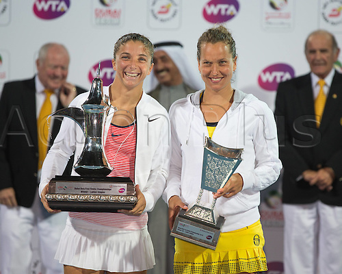 20.02.2016. Dubai, United Arab Emirates. Winner Sara Errani ITA with the Cup after she beat Barbora Strycova (CZE)finalist at the Awards Ceremony Dubai Tennis Championships 2016