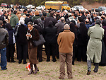 Newsday reporter Erin Texeira at an Islamic burial services at Washington Memorial Park cemetry in Miller Place on Monday April 12, 2004, for three Long Island teenagers Omar Abdelmoneim, Mostafa Rabbat and Ahmed Elzanaty who died in an auto accident in Pennsylvania. (Newsday Photo / Jim Peppler).