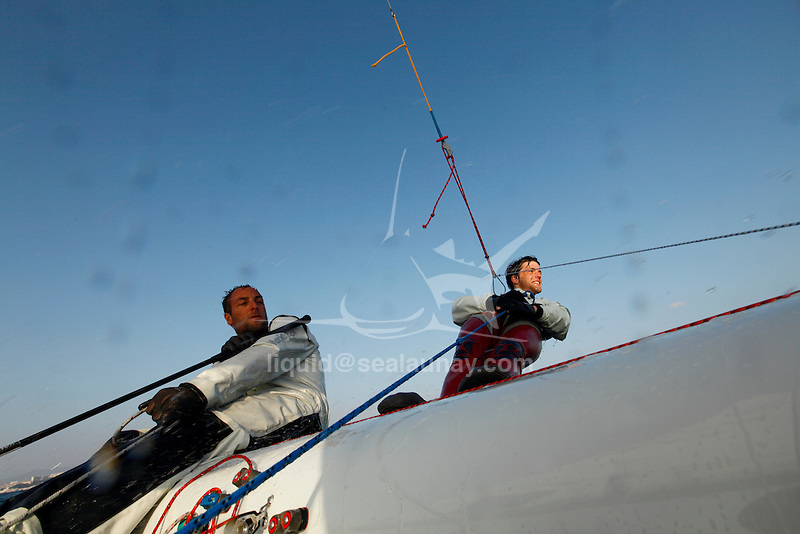 470 pair Nicolas Charbonnier and Jeremie Mion training in Marseille  on a sunny and windy day.