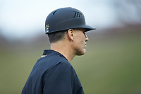 Wake Forest Demon Deacons head coach Tom Walter (16) coaches third base during the game against the Sacred Heart Pioneers at David F. Couch Ballpark on February 15, 2019 in  Winston-Salem, North Carolina.  The Demon Deacons defeated the Pioneers 14-1. (Brian Westerholt/Four Seam Images)