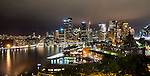 Sydney Skyline & Circual Quay at night, Sydney, NSW, Australia