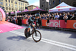 Davide Formolo (ITA) Bora-Hansgrohe powers down the start ramp of Stage 1 of the 2019 Giro d'Italia, an individual time trial running 8km from Bologna to the Sanctuary of San Luca, Bologna, Italy. 11th May 2019.<br /> Picture: Eoin Clarke | Cyclefile<br /> <br /> All photos usage must carry mandatory copyright credit (© Cyclefile | Eoin Clarke)