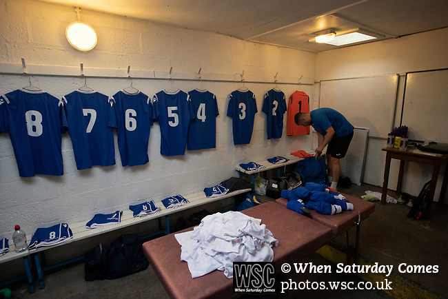 Nelson 3 Daisy Hill 6, 12/10/2019. Victoria Park, North West Counties League, First Division North. The home team goalkeeper getting his kit ready in the changing room before Nelson hosted Daisy Hill at Victoria Park. Founded in 1881, the home club were members of the Football League from 1921-31 and has played at their current ground, known as Little Wembley, since 1971. The visitors won this fixture 6-3, watched by an attendance of 78. Photo by Colin McPherson.