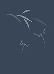 Two dragonflies and leaves, refined and tasteful oriental design based on Japanese Zen ink painting artwork illustration on faded dark blue background
