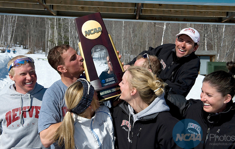 14 MAR 2009: Members of the University of Denver Ski Team celebrate their national championship at the 2009 NCAA Skiing Championships held at Black Mountain Ski Area, Rumford, ME.  Gil Talbot/NCAA Photos .