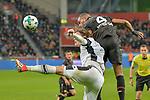 10.03.2018, BayArena, Leverkusen, GER, 1.FBL, Bayer 04 Leverkusen vs Borussia Moenchengladbach, im Bild Kopfball / Kopfballduell Jannik Vestergaard (#4, Borussia Moenchengladbach)  Jonathan Tah (#4, Bayer 04 Leverkusen) <br /> <br /> <br /> Foto &copy; nordphoto/Mauelshagen