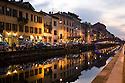 View of Naviglio Grande with pedestrian bridge close to Corsico street from Alzaia (canal towpath), Milan, January, 2011. © Carlo Cerchioli..Vista del Naviglio Grande dall'Alzaia con il ponte pedonale di via Corsico, Milano, gennaio, 2011.