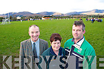 TRAINING SESSION: Don Keogh (Kenmare County board delegate), Marie O'Sullivan (assistant secretary Sneem GAA) and Johnny O'Sullivan (treasurer Sneem GAA) pictured at the Celebrity Bainisteoir training session on Friday.   Copyright Kerry's Eye 2008