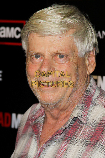 "ROBERT MORSE.at the Season 4 premiere of AMC's ""Mad Men"", Mann Chinese 6 Theatre. Hollywood, CA, USA, July 20th, 2010. .portrait headshot smiling plaid red checked check shirt .CAP/CEL.©CelPh/Capital Pictures."