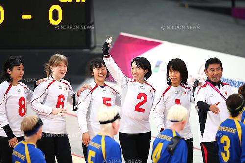 Japan team group (JPN), .SEPTEMBER 6, 2012 - Goalball : .Women's goalball Semi-Final match between Sweden 3-4 Japan of the London 2012 Paralympic Games at the Copper Box in Stratford, UK. (Photo by Akihiro Sugimoto/AFLO SPORT) [1081]***Local Caption***(L-R) Haruka Wakasugi, Eiko Kakehata,  Akane Nakashima, Rie Urata, Masae Komiya.