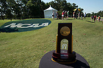 HOUSTON, TX - MAY 12: The Division III National Championship Trophy is displayed near the No.1 tee box during the Division III Women's Golf Championship held at Bay Oaks Country Club on May 12, 2017 in Houston, Texas. (Photo by Rudy Gonzalez/NCAA Photos/NCAA Photos via Getty Images)