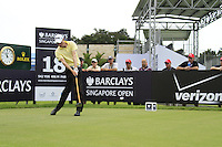 Rhys Davies (WAL) tees off on the 18th tee before thunder stopped play during Friday's Round 2 of the 2011 Barclays Singapore Open, Singapore, 11th November 2011 (Photo Eoin Clarke/www.golffile.ie)