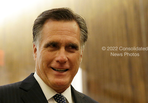 Former Governor Mitt Romney (Republican of Massachusetts) speaks to the press after a dinner with U.S. President-elect Donald Trump at Jean Georges Restaurant on November 29, 2016 in New York City. U.S. President-elect Donald Trump spent the afternoon holding meetings at Trump Tower as he continues to fill in key positions in his new administration.   <br /> Credit: John Angelillo / Pool via CNP